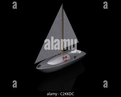 ship. 3D yacht sport icon - Stock Photo