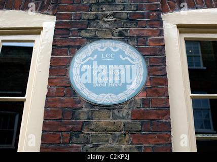 Blue plaque for author William Hazlitt in Soho, London - Stock Photo
