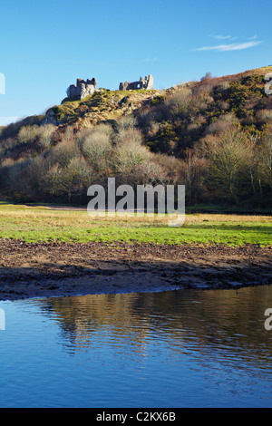 Pennard Castle on Pennard Burrows from Pennard Pill on Three Cliffs Bay, Gower, Wales - Stock Photo