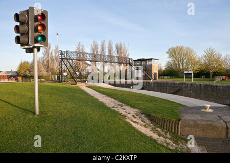 Castleford Lock on the Aire & Calder Navigation looking towards Goole showing traffic lights system. - Stock Photo