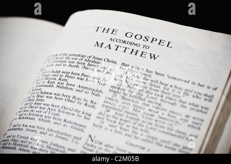 The New American Standard Bible Open To The Gospel According To Matthew - Stock Photo