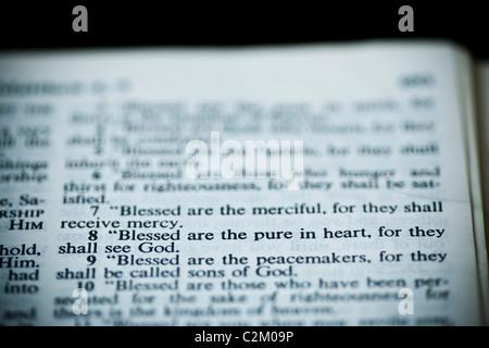The New American Standard Bible Open To Matthew 5:8, The Sermon On The Mount (The Beatitudes) - Stock Photo