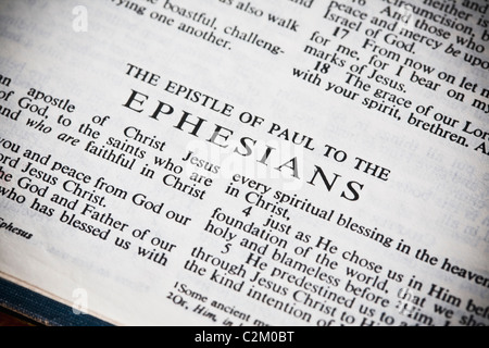 The New American Standard Bible Open To The Epistle Of Paul To The Ephesians - Stock Photo