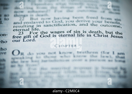 The New American Standard Bible Open To Romans 6:23 - Stock Photo