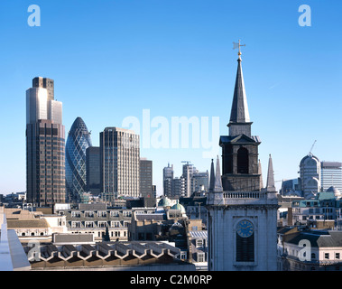 The City of London. Including Tower 42 and 30 St Mary Axe, the Gherkin and Wren church tower - Stock Photo