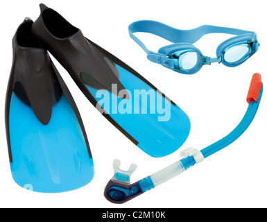 Flippers, glasses and snorkel isolated on white background - Stock Photo