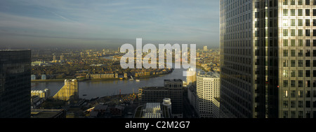 London Panorama from Citigroup Tower, Canada Square, London with curve of River Thames - Stock Photo