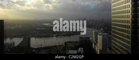 London Panorama from Citigroup Tower looking west, London. - Stock Photo