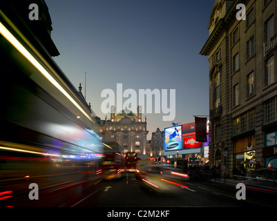 Piccadilly Circus from Lower Regent Street at dusk, Piccadilly, London. - Stock Photo