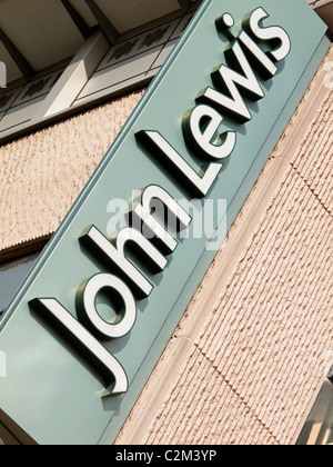 Sign outside a branch of the British John Lewis department store chain belonging to the John Lewis Partnership - Stock Photo