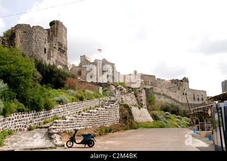 Syria Marqab Crusaders castle located on the Mediterranean Sea.Syrian Middle East knights Hospitaller - Stock Photo