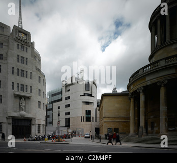 BBC Broadcasting House and Portland Place, London. - Stock Photo