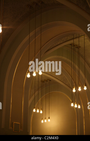 Decorated ceiling in Art Nouveau design at the Obecni Dum Municipal House a civic building that houses Smetana Hall, - Stock Photo