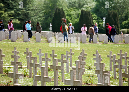 The military cemetery at the Douaumont ossuary, Verdun, France - Stock Photo