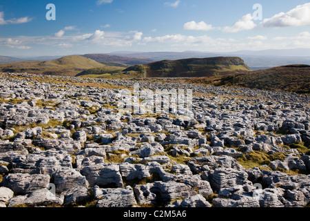 Limestone pavement on Keelogyboy Mountain, County Leitrim, Ireland. - Stock Photo