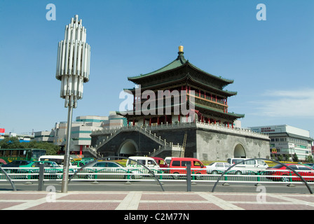 Bell Tower Square, Xian, China built in 1384 by Emperor Zhu Yuanzhang - Stock Photo