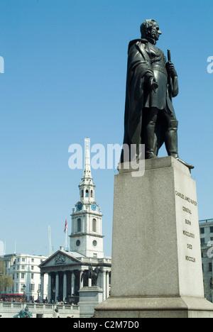 Trafalgar Square, London - General Sir Charles James Napier - Stock Photo