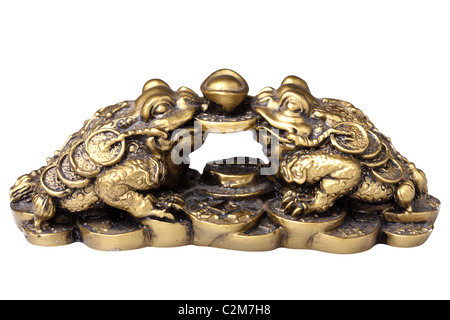 Two chinese feng shui frogs with coins. Isolated on white background - Stock Photo
