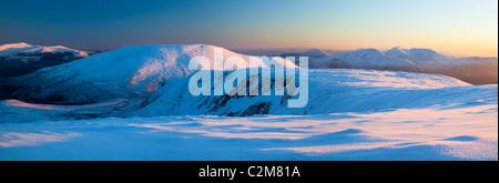 Winter panorama from Slieve Carr, Nephin Beg Mountains, Ballycroy National Park, County Mayo, Ireland. - Stock Photo