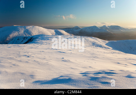 Winter view of the Nephin Beg Mountains from Slieve Carr, Ballycroy National Park, County Mayo, Ireland. - Stock Photo
