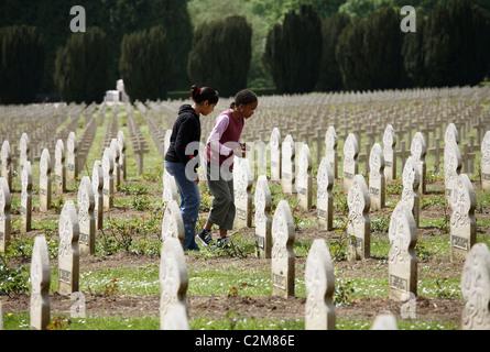 Tombstones of Muslim soldiers, Verdun, France - Stock Photo