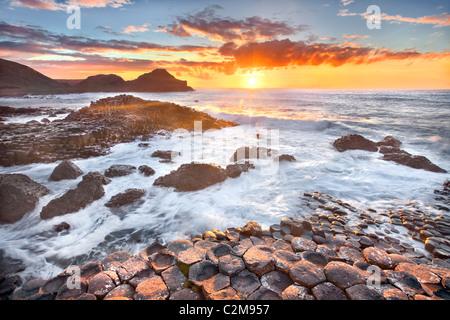 Giants causeway captured at sunset