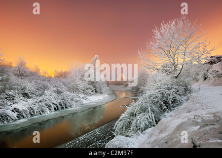 River Lagan in sub zero tempertures. - Stock Photo