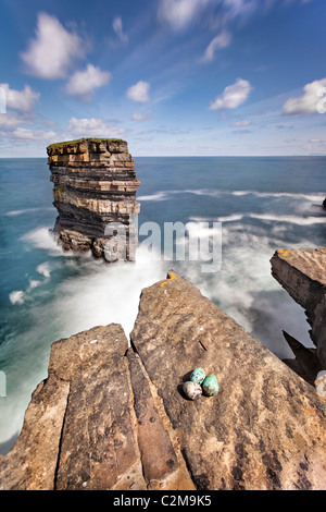 Dun Briste, a spectacular sea-stack stands off Downpatrick Head, Co. Mayo. Ireland. - Stock Photo