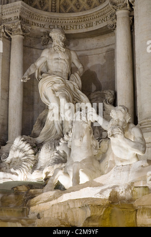 Close up view of central statues, Trevi Fountain, Rome, Italy. - Stock Photo