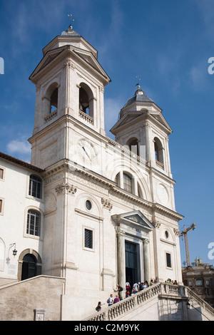 Exterior view of Trinita dei Monti, Rome, Italy. - Stock Photo