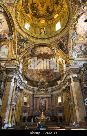 View of the altar and dome at Chiesa del Gesu, Rome. - Stock Photo