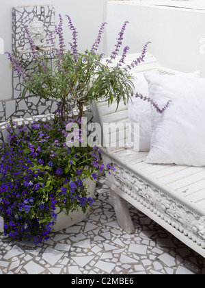 Detail of white terrazzo tiling, white wooden seating and blue and mauve flowers in pot - Stock Photo