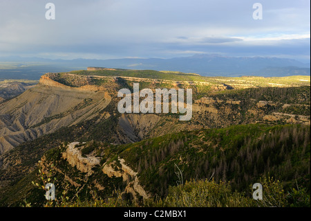 Scenic view of Mesa Verde National Park. Photo taken from Park Point, the highest elevation in the park - Stock Photo