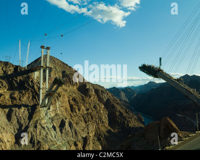 View showing construction of the new Hoover Dam bridge from Nevada side - Stock Photo