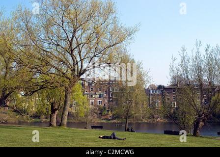 One of the Highgate Ponds, Hampstead Heath, London - Stock Photo