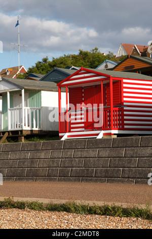 Beach huts, Whitstable beach, Kent. - Stock Photo
