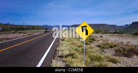 Rio el Novillo, Mexican Federal Highway No. 1 follows the length of the Baja California Peninsula from Cabo San - Stock Photo