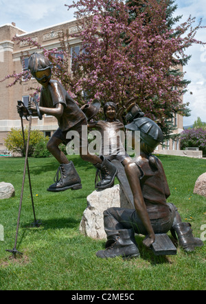 Colorado, Steamboat Springs, bronze sculpture in front of Routt County Courthouse
