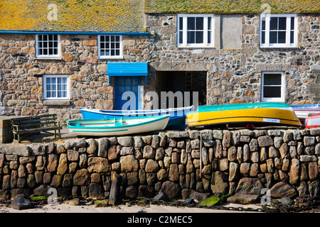 Traditional houses on the harbourside at Mousehole near Land's End, Cornwall, England - Stock Photo