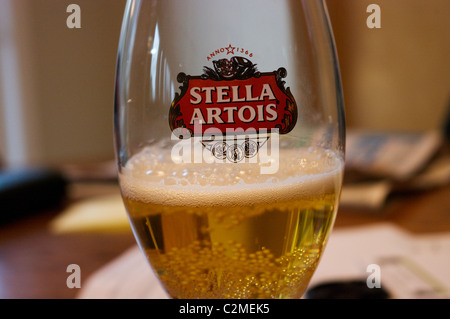 stella beer in glass - Stock Photo