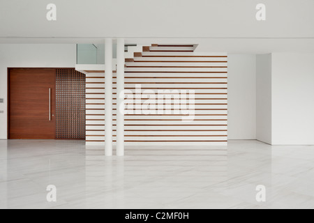 Modern white empty room with marble floor - Stock Photo