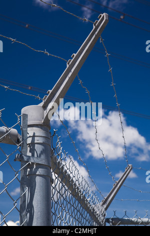 Barbwire Security Fence, Montreal, Quebec, Canada - Stock Photo
