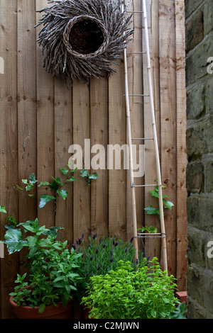 Suburban Garden. Cane ladder and woven twig decoration on close-boarded fence - Stock Photo