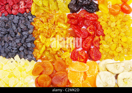 assortment dried fruits close up - Stock Photo