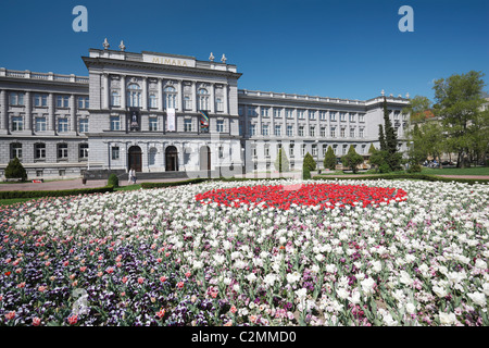 Mimara museum in  Zagreb with flowers in front - Stock Photo