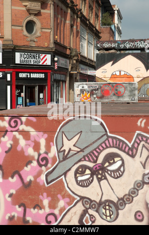Street art in the Northern Quarter district of Manchester. - Stock Photo