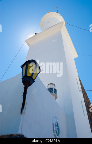 Low angle shot of the lighthouse in Colonia del Sacramento, Uruguay - Stock Photo