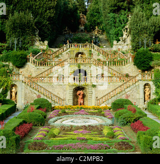 Villa Garzoni Tuscany Staircase in formal garden - Stock Photo