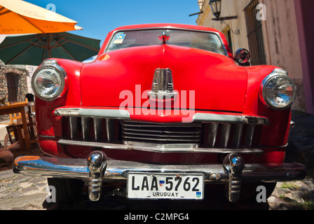 Classic Studebaker car on street in Colonia del Sacramento - Stock Photo