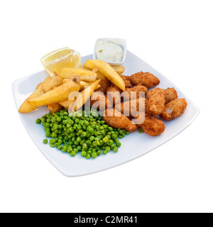 Plate of Scampi and Chips, with Peas with Lemon and Tartare Sauce on a white plate - Stock Photo